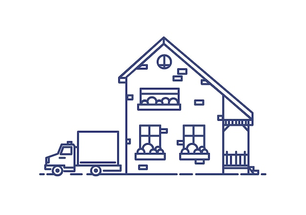 Two-storey suburban house with porch built with bricks and lorry parked beside it. residential building drawn with blue lines on white background. monochrome vector illustration in lineart style.