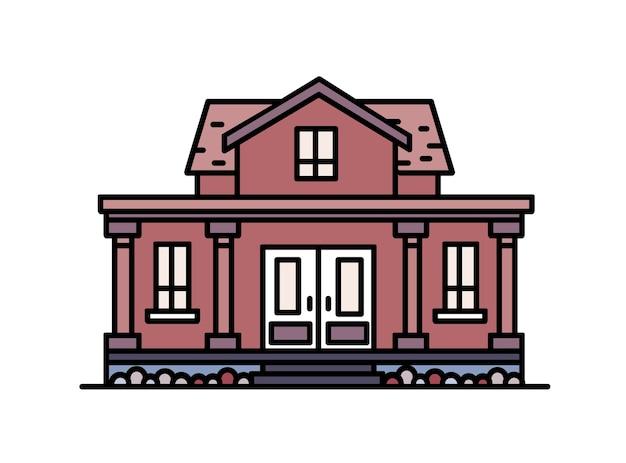 Двухэтажный загородный дом с крыльцом и колоннами построен в элегантном классическом архитектурном стиле. изолированный жилой дом.