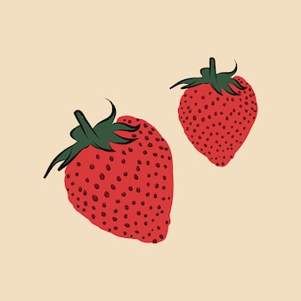 Two strawberries funky graphic illustration