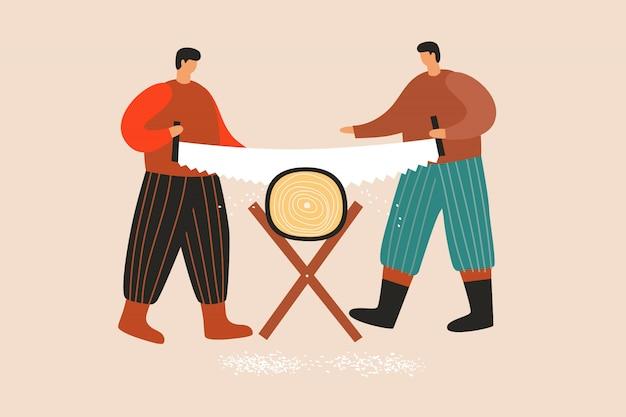 Двое сильных деревенских мужчин распиливают большое бревно.