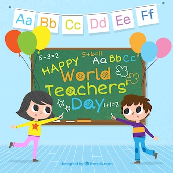 Два студента и доска, день учителя мира
