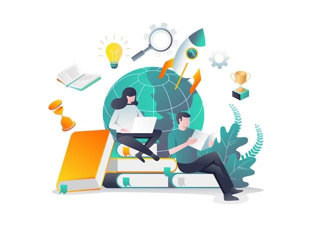地球の横で本を読んでいる2人の学生