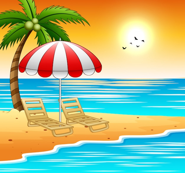 Два шезлонга и зонтики на пляже с закатом
