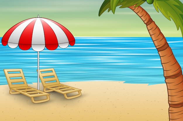 Two sun loungers and parasols on a beach
