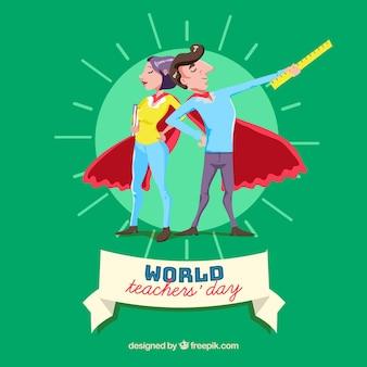 Two teachers superheroes in red cloaks Premium Vector