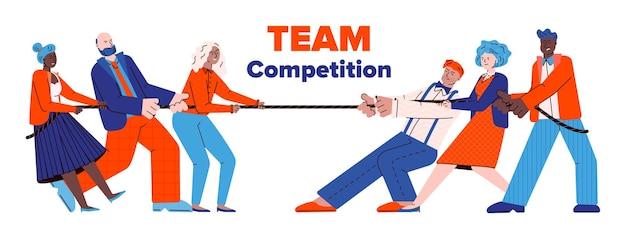 Two teams of people cartoon characters pulling rope