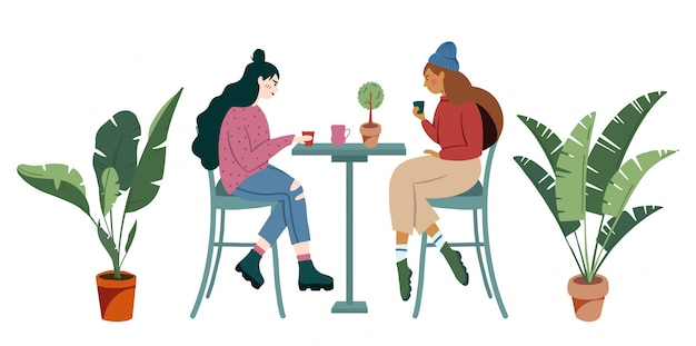 Two teenager millennial hipster girl sit in loft cafe and drink coffee shop - small business illustrations modern flat hand drawn