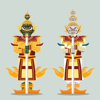 Two thai guardian giant statues