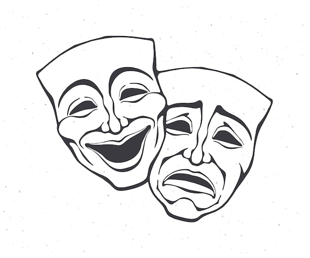 Two theatrical comedy and drama mask outline bipolar disorder symbol vector illustration
