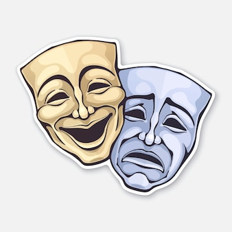 Two theatrical comedy and drama mask vector illustration
