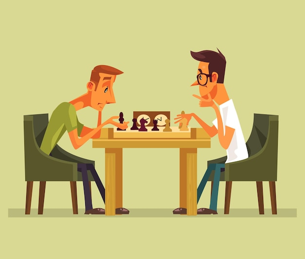 Two thinking smart players man characters playing chess.