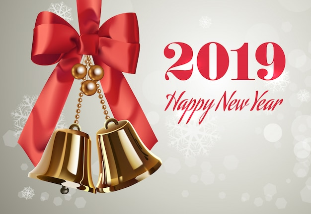 Duemila diciotto, lettere di felice anno nuovo, campane e fiocco