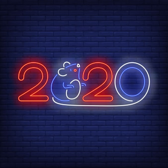 Two thousand and twenty and mouse neon sign