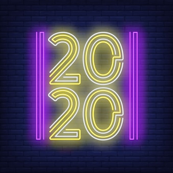 Two thousand and twenty in neon style