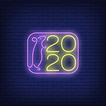 Two thousand twenty new year neon sign