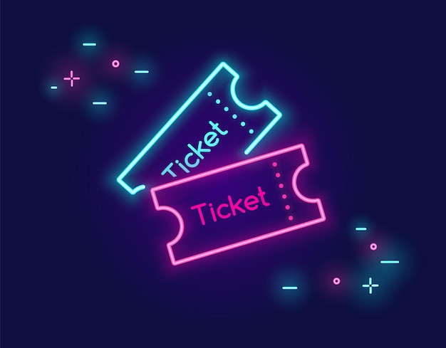 Two tickets banner for social networks in neon light style on dark background bright vector neon art