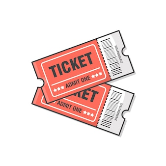Two tickets  icon illustration. ticket for entrance to the event