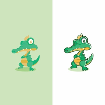 Two tipe of crocodile mascot design flat ad not flat