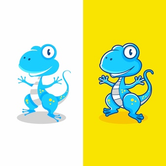 Two tipe design of cartoon gecko lizard flat and not flat design