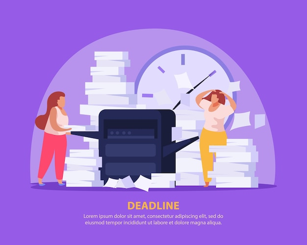 Two tired women working with papers before deadline flat illustration