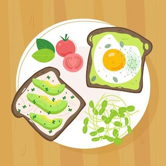 접시에 마이크로 그린 토스트 2 개