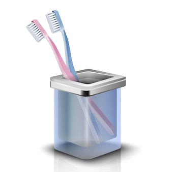 Two toothbrushes in a cup. isolated illustration on white background.