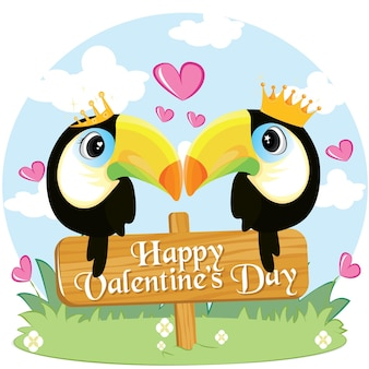 Two toucans in love sitting on a branch. tropical love. happy valentine's day