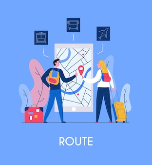 2人の観光客と観光モバイルアプリケーションのインターフェースと地図とナビゲーションフラット