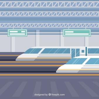 プラットフォームの背景に2つの列車