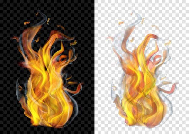 투명한 배경에 연기가 나는 두 개의 반투명 불타는 모닥불. 밝고 어두운 배경에서 사용합니다. 벡터 형식의 투명도