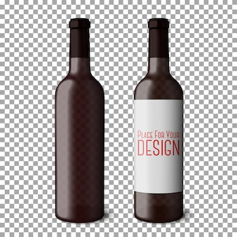 Two transparent blank black realistic bottles for red wine isolated on plaid background