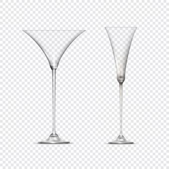 두 개의 투명 빈 잔 받침 달린 컵