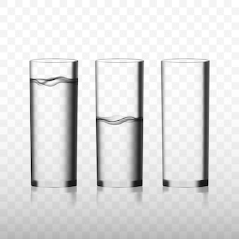 Two transparent  glasses of pure water and one empty glass