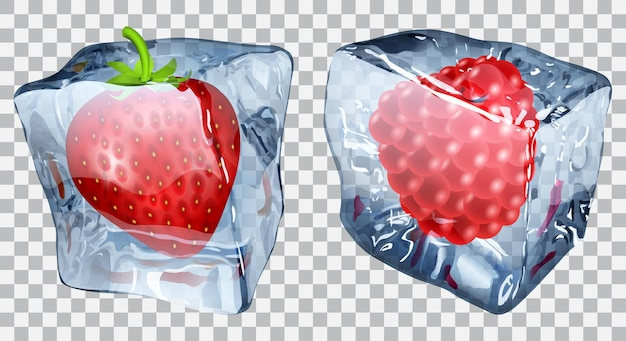 Two transparent ice cubes with frozen strawberry and raspberry