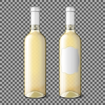格子縞の背景に分離された白ワイン用の2つの透明でリアルなボトル