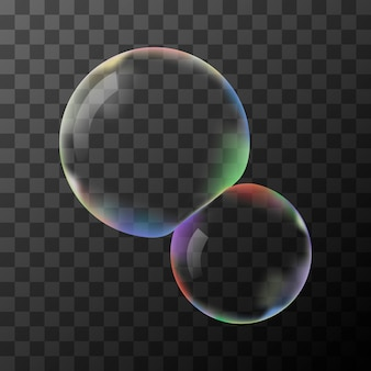 Two transparent soap bubbles without background