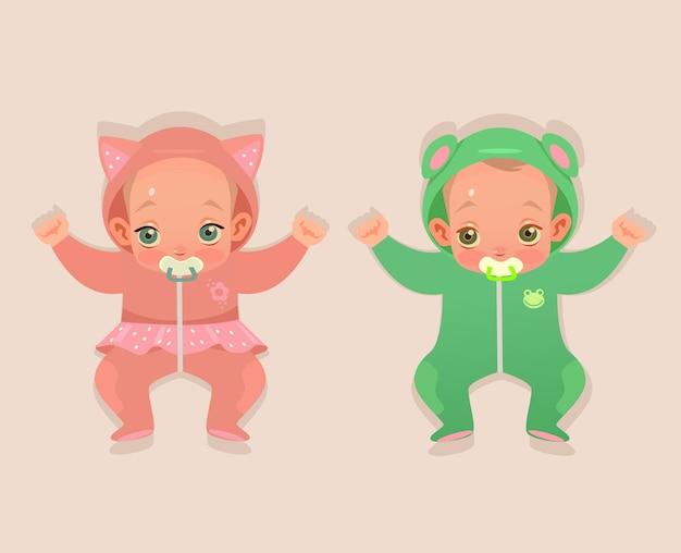 두 쌍둥이 아기 어린이 캐릭터 만화 일러스트 레이션