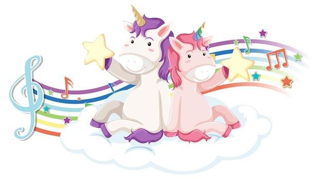Two unicorns with melody symbols on rainbow