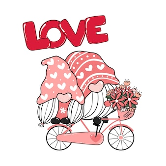 Two valentine romantic gnome couple on pink bicycle love.