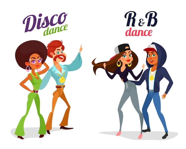 Two vector cartoon couples dancing dance in disco style and rhythm and blues