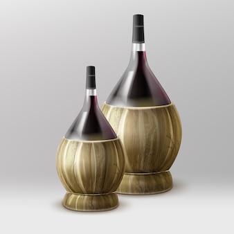 Due vettore fiasco bottiglie di vino con paglia isolato su sfondo grigio sfumato