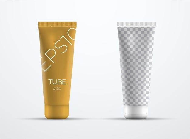 キャップ付きのクリームまたは液体用のリアルなプラスチックチューブの2つのベクトルモックアップ。プレゼンテーションパッケージデザインのテンプレート。正面図