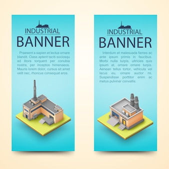 Two vertical 3d building banner set with industrial banner descriptions on light blue background