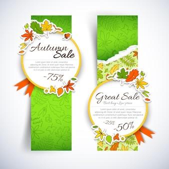 Due banner verticali a tema di vendita autunnale con nastri rossi foglie e posto per i titoli