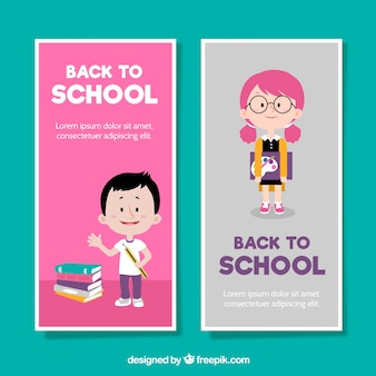 Two vertical back to school banners