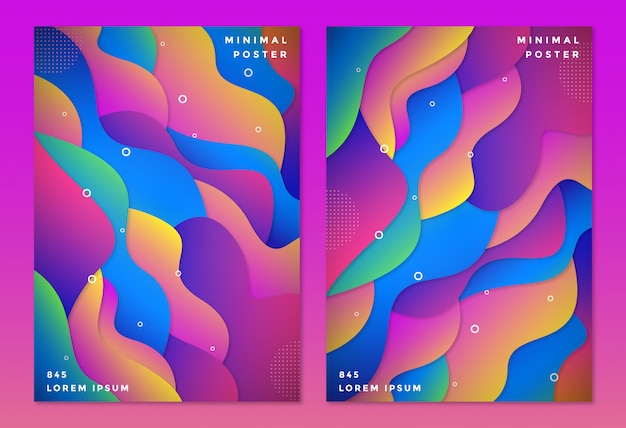 Two vertical background with colorful paper cutout shapes style