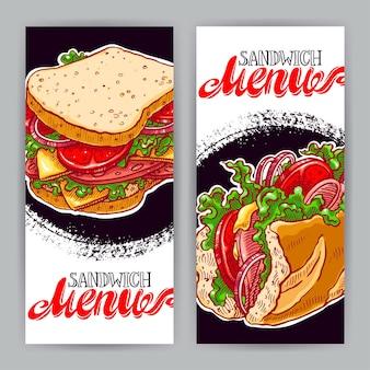 맛있는 샌드위치와 함께 두 개의 수직 배너입니다. 손으로 그린 그림