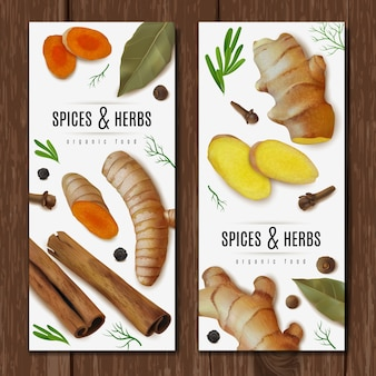 Two vertical banners with herbs and spices