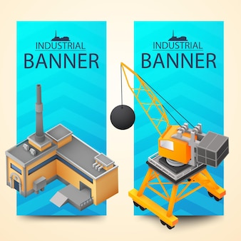 Two vertical bright color banner set on with demolition machine and factory building