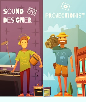 Two vertical cartoon banners